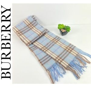 Burberry Nova Check Plaid Blue Lambswool Scarf